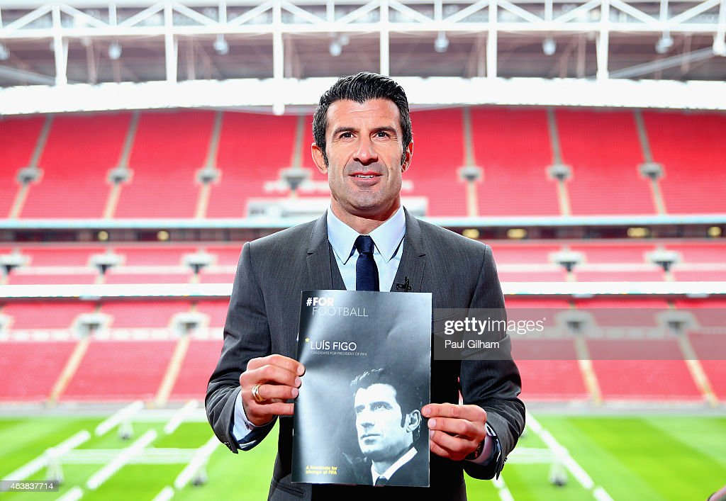 <a gi-track='captionPersonalityLinkClicked' href=/galleries/search?phrase=Luis+Figo&family=editorial&specificpeople=201507 ng-click='$event.stopPropagation()'>Luis Figo</a> poses after talking to the media as he launches his FIFA Presidential Campaign Manifesto at Wembley Stadium on February 19, 2015 in London, England.