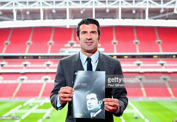 Luis Figo poses after talking to the media as he launches his FIFA Presidential Campaign Manifesto at Wembley Stadium on February 19 2015 in London...