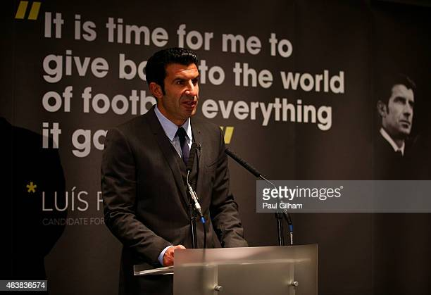Luis Figo talks to the media as he launches his FIFA Presidential Campaign Manifesto at Wembley Stadium on February 19 2015 in London England