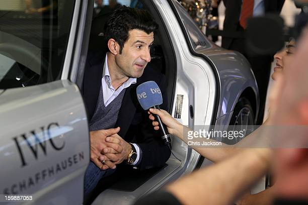 Luis Figo visits the IWC booth during the Salon International de la Haute Horlogerie 2013 at Palexpo on January 22 2013 in Geneva Switzerland