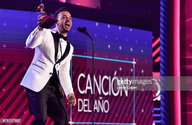 Luis Fonsi accepts the award for Song of the Year for 'Despacito' onstage during The 18th Annual Latin Grammy Awards at MGM Grand Garden Arena on...