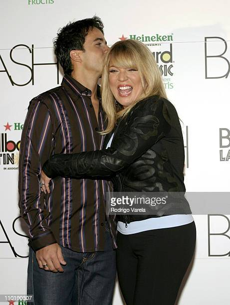 Luis Fonsi and Ednita Nazario during 2004 Billboard Latin Music Bash Red Carpet at Barton G in Miami Beach Florida United States