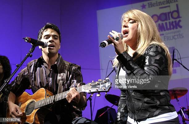 Luis Fonsi and Ednita Nazario during 2004 Billboard Latin Music Bash Concert at Barton G in Miami Beach Florida United States