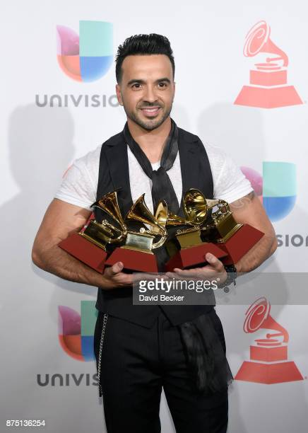 Luis Fonsi poses in the press room during The 18th Annual Latin Grammy Awards at MGM Grand Garden Arena on November 16 2017 in Las Vegas Nevada
