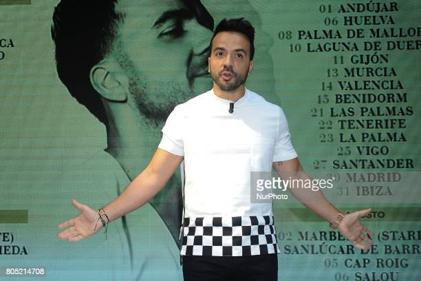 Luis Fonsi presents his 'Love Dance World Tour' and receives an award from the hands of Narcis Rebollo for 'Despacito' on June 30 2017 in Madrid Spain