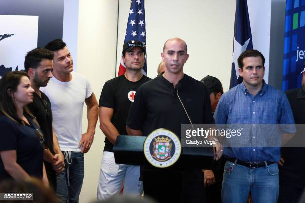 Luis Fonsi Ricky Martin Chayanne Carlos Arroyo and Governor Ricardo Rossello during a press conference supporting victims of Hurricane Maria at Luis...