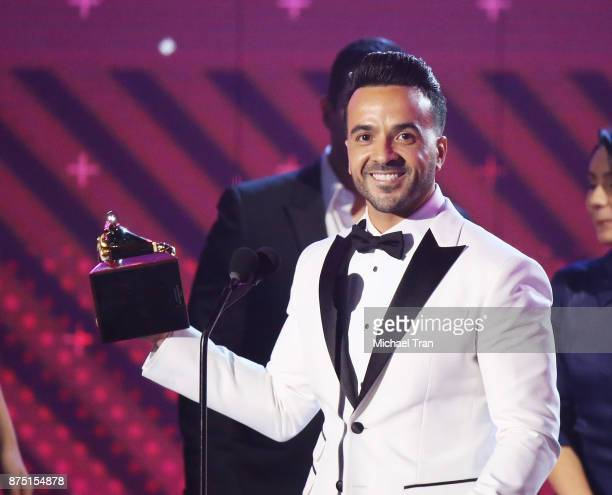 Luis Fonsi speaks onstage during the 18th Annual Latin Grammy Awards held at MGM Grand Garden Arena on November 16 2017 in Las Vegas Nevada