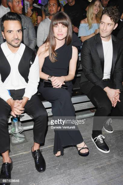 Luis Fonsi Vittoria Puccini and Morrison Matthew arrive at the Dsquared2 show during Milan Men's Fashion Week Spring/Summer 2018 on June 18 2017 in...