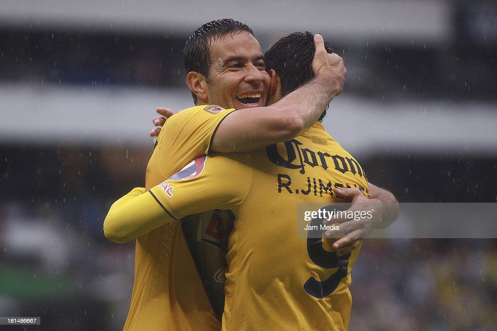 Luis Gabriel Rey and Raul Jimenez of America celebrate a goal during a match between America and Jaguares as part of the Apertura 2013 Liga MX at Azteca Stadium on september 21, 2013 in Mexico City, Mexico.
