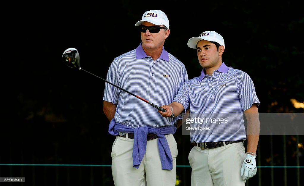 Luis Gagne of LSU speaks with his coach Chuck Winstead before hitting his drive on the 17th hole during round three of the 2016 NCAA Division I Men's Golf Championship at Eugene Country Club on May 31, 2016 in Eugene, Oregon.