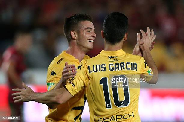 Luis Garcia and Liam Rose of the Mariners celebrate a goal during the round 16 ALeague match between the Central Coast Mariners and the Western...