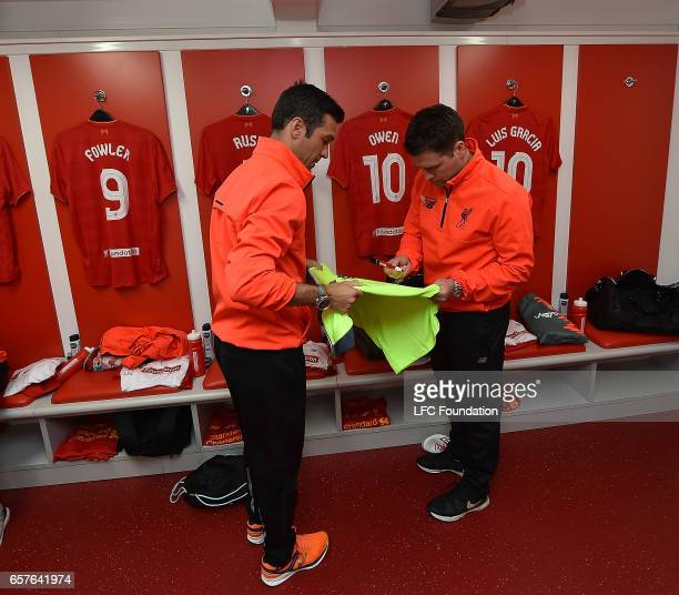 Luis Garcia and Michael Owen of Liverpool Legends are seen before the LFC Foundation Charity Match between Liverpool Legends and Real Madrid Legends...