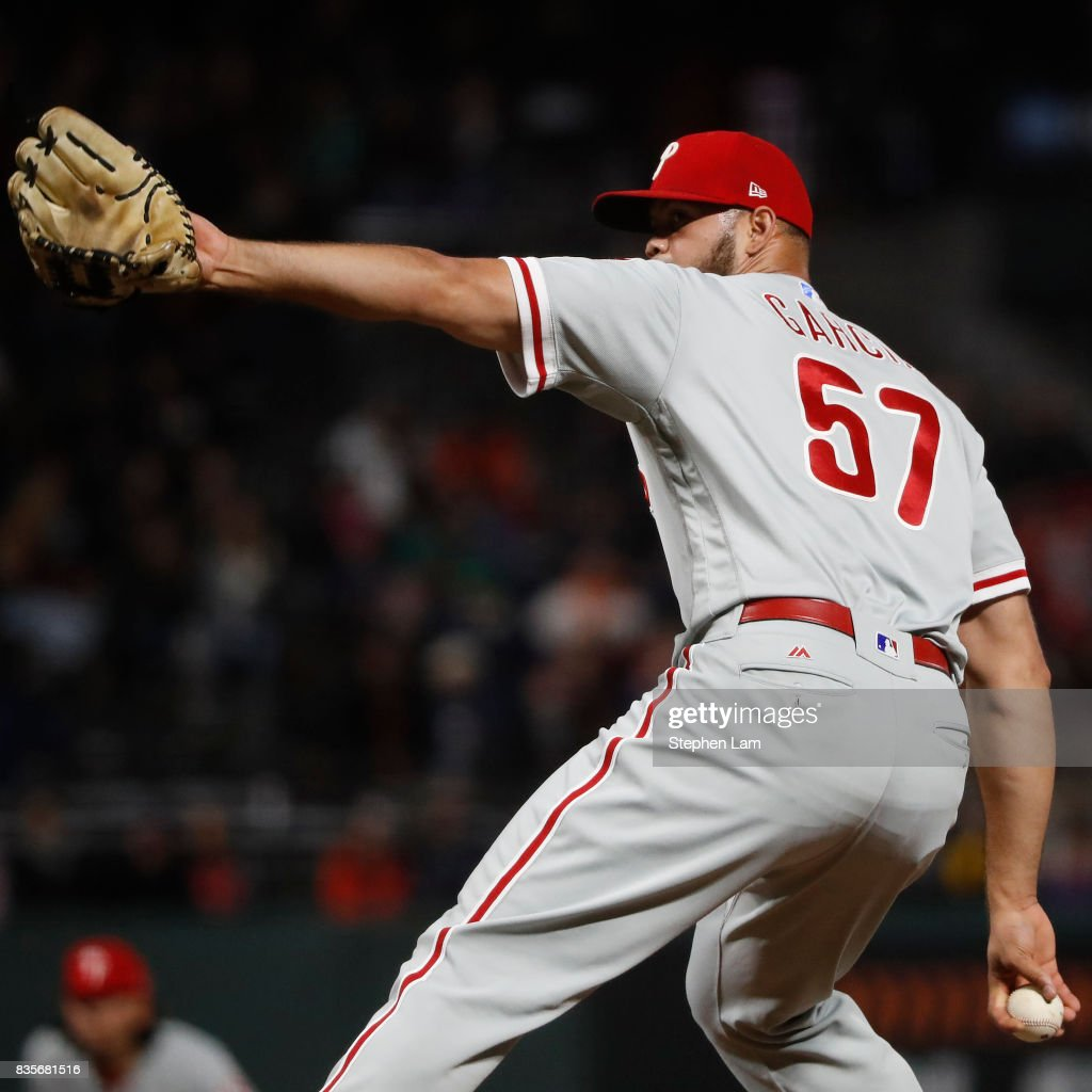 Luis Garcia #57 delivers a pitch during the eighth inning against the San Francisco Giants at AT&T Park on August 19, 2017 in San Francisco, California. The Phillies defeated the Giants 12-9.