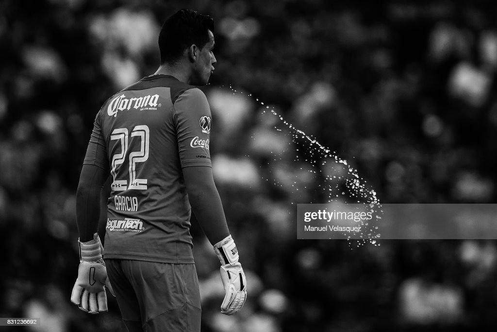 Luis Garcia goalkeeper of Toluca spits during the 4th round match between Cruz Azul and Chivas as part of the Torneo Apertura 2017 Liga MX at Azul Stadium on August 12, 2017 in Mexico City, Mexico.
