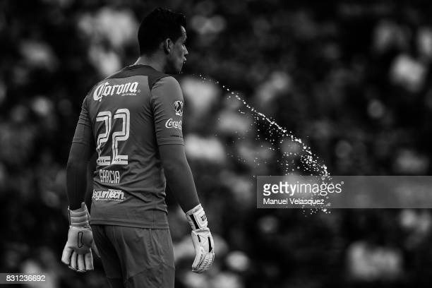 Luis Garcia goalkeeper of Toluca spits during the 4th round match between Cruz Azul and Chivas as part of the Torneo Apertura 2017 Liga MX at Azul...
