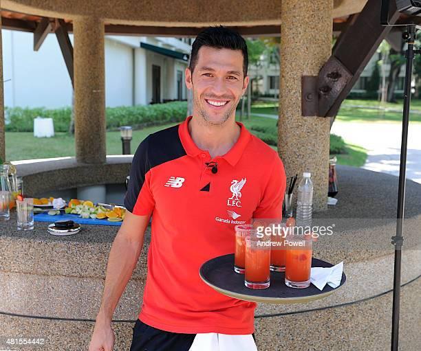 Luis Garcia legend of Liverpool making Sangria at Saujana Resort on July 22 2015 in Kuala Lumpur Malaysia