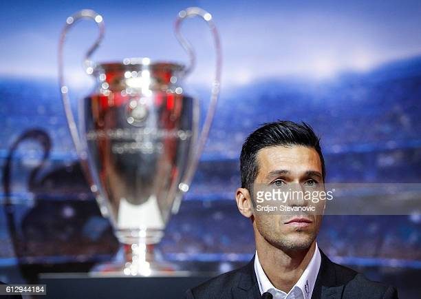 Luis Garcia looks on during the UEFA Champions League Trophy Tour by UniCredit press conference at City Hall on October 6 2016 in Sarajevo Bosnia and...