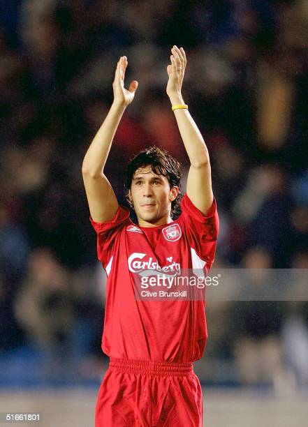 Luis Garcia of Liverpool celebrates after the UEFA Champions League Group A match between Deportivo La Coruna and Liverpool at The Raizor Stadium on...
