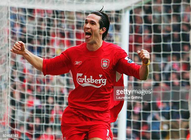 Luis Garcia of Liverpool celebrates his goal during the Barclays Premiership match between Liverpool and Everton at Anfield on March 20 2005 in...
