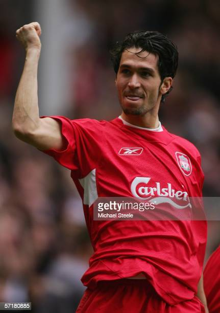 Luis Garcia of Liverpool celebrates the second goal during the Barclays Premiership match between Liverpool and Everton at Anfield on March 25 2006...