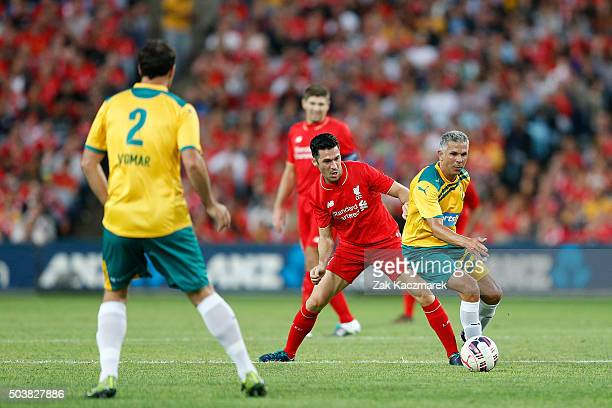 Luis Garcia of Liverpool FC Legends and Steve Corica of Australian Legends compete during the match between Liverpool FC Legends and the Australian...