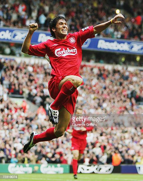 Luis Garcia of Liverpool jumps for joy after scoring the third goal during the FA Barclays Premiership match between Liverpool and West Bromwich...