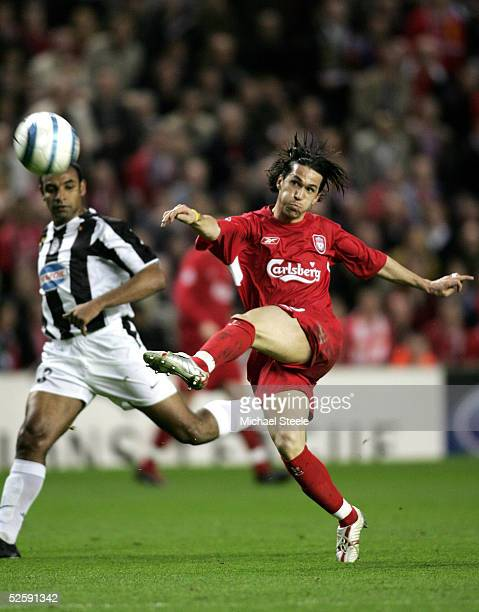 Luis Garcia of Liverpool scores a goal during the UEFA Champions League Quaterfinal first leg match between Liverpool and Juventus at Anfield on...
