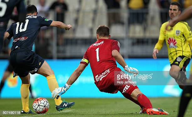 Luis Garcia of the Central Coast Mariners back heals the ball to score a goal during the round 17 ALeague match between the Wellington Phoenix and...