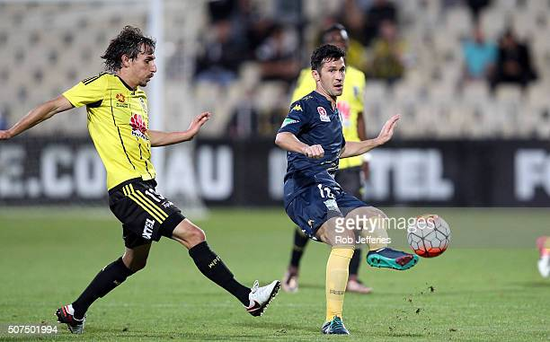 Luis Garcia of the Central Coast Mariners passes the ball during the round 17 ALeague match between the Wellington Phoenix and the Central Coast...