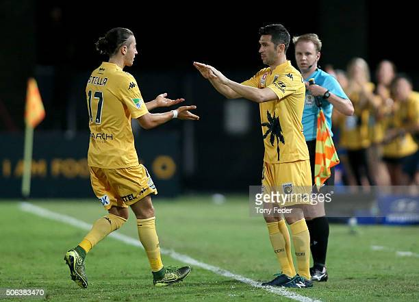 Luis Garcia of the Mariners comes on after being substituted for team mate Francesco Stella his first game with the Mariners during the round 16...