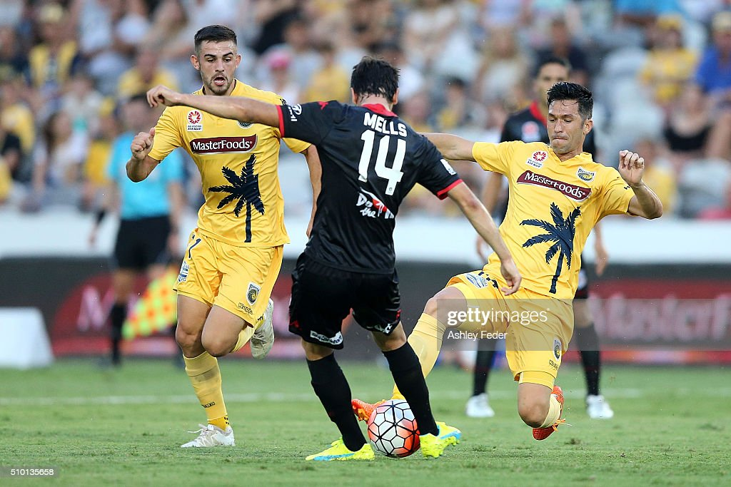 Luis Garcia of the Mariners contests the ball aganist Geoge Mells of Adelaide United during the round 19 A-League match between the Central Coast Mariners and Adelaide United at Central Coast Stadium on February 14, 2016 in Gosford, Australia.