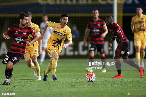 Luis Garcia of the Mariners in action during the round 16 ALeague match between the Central Coast Mariners and the Western Sydney Wanderers at...