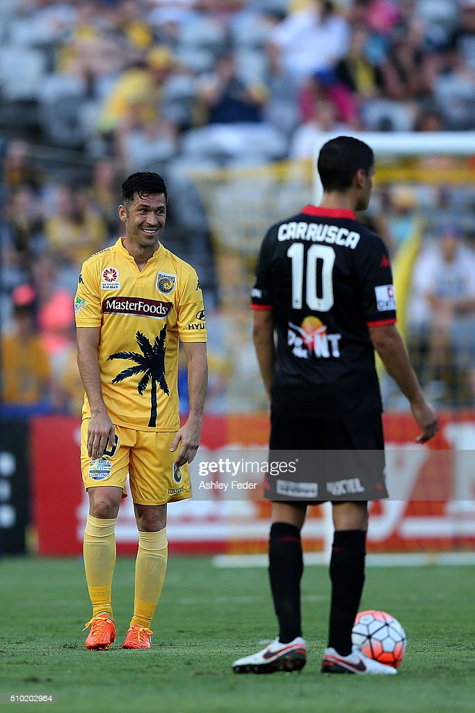 Luis Garcia of the Mariners questions a decision during the round 19 A-League match between the Central Coast Mariners and Adelaide United at Central Coast Stadium on February 14, 2016 in Gosford, Australia.