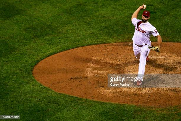 Luis Garcia of the Philadelphia Phillies pitches against the Oakland Athletics during the eighth inning at Citizens Bank Park on September 16 2017 in...