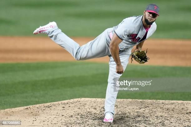 Luis Garcia of the Philadelphia Phillies pitches during game two of baseball game against the Washington Nationals at Nationals Park on May 14 2017...