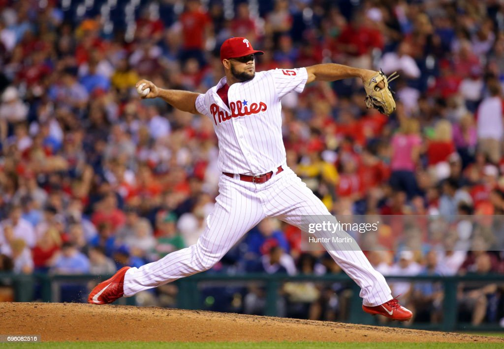 Luis Garcia #57 of the Philadelphia Phillies throws a pitch in the seventh inning during a game against the Boston Red Sox at Citizens Bank Park on June 14, 2017 in Philadelphia, Pennsylvania. The Red Sox won 7-3. Photo by Hunter Martin/Getty Images)