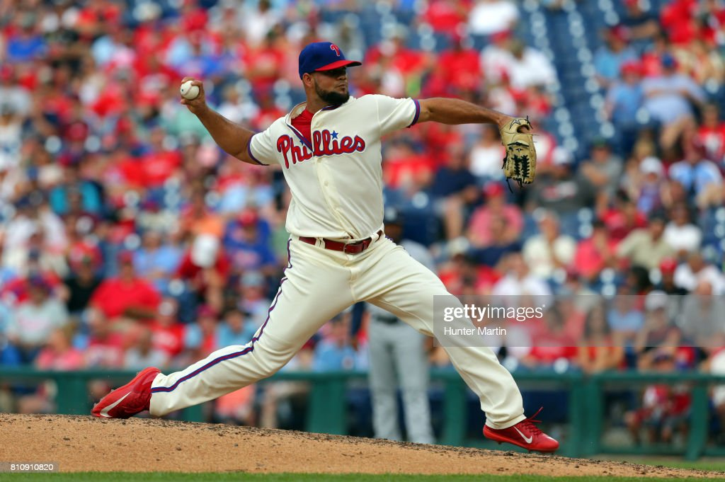 Luis Garcia #57 of the Philadelphia Phillies throws a pitch in the ninth inning during a game against the San Diego Padres at Citizens Bank Park on July 8, 2017 in Philadelphia, Pennsylvania. The Padres won 2-1.
