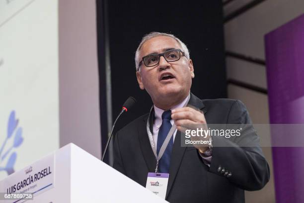 Luis Garcia Rosell chairman of Petroleos del Peru SA speaks during the Peru Energy 2017 conference in Lima Peru on Wednesday May 24 2017 The...