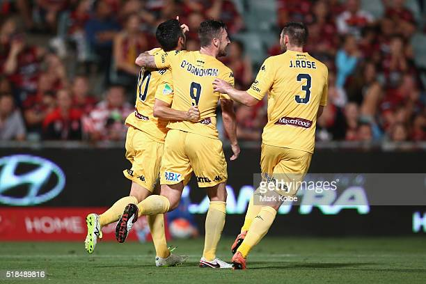 Luis Garcia Roy ODonovan and Joshua Rose of the Mariners celebrate Garcia scoring a goal during the round 26 ALeague match between the Western Sydney...