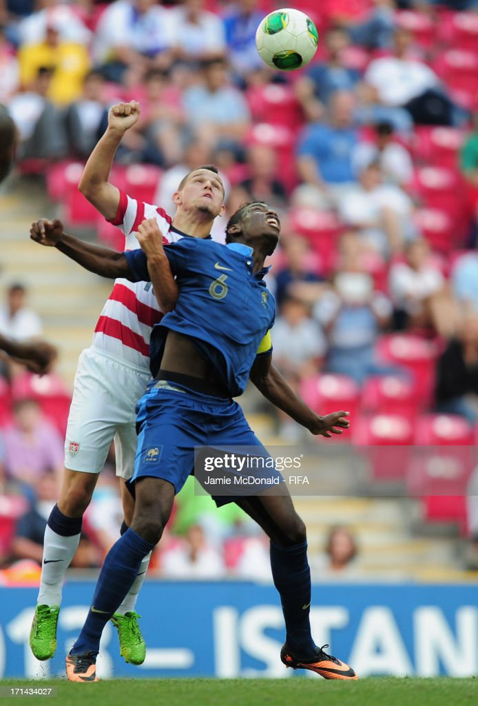 Luis Gil of USA battles with Paul Pogba of France during the FIFA U-20 World Cup Group A match between France and USA at the Ali Sami Yen Arena on June 24, 2013 in Istanbul, Turkey.