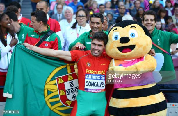 Luis Goncalves of Portugal celebrate coming 2nd Men's 200m T12 Final during World Para Athletics Championships at London Stadium in London on July 21...