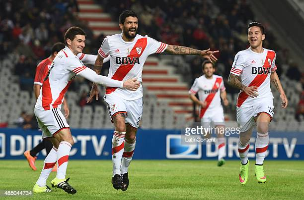 Luis Gonzalez of River Plate celebrates after scoring the opening goal during a match between Estudiantes and River Plate as part of 21st round of...