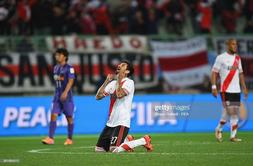 Luis Gonzalez of River Plate celebrates at the end of the FIFA Club World Cup semi final match between Sanfrecce Hiroshima and River Plate at Osaka...