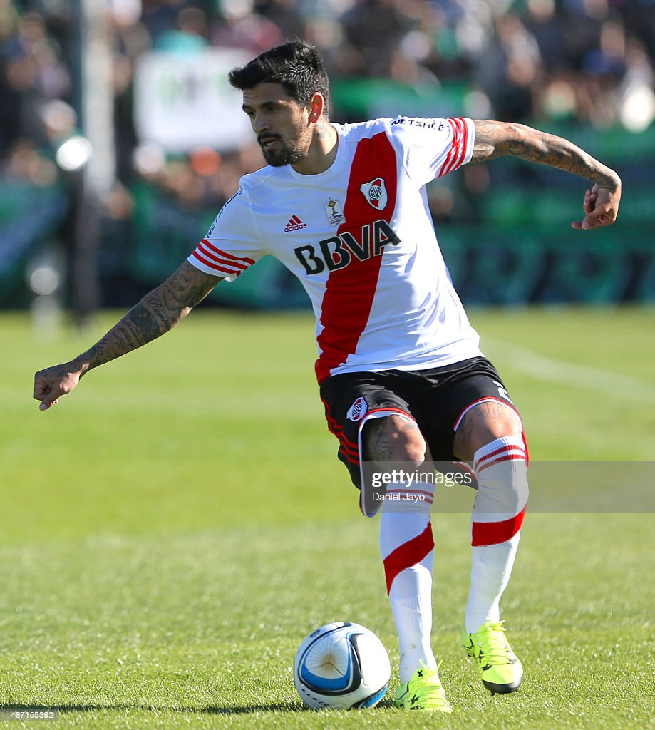 Luis Gonzalez of River Plate drives the ball during a match between Nueva Chicago and River Plate as part of 23rd round of Torneo Primera Division...