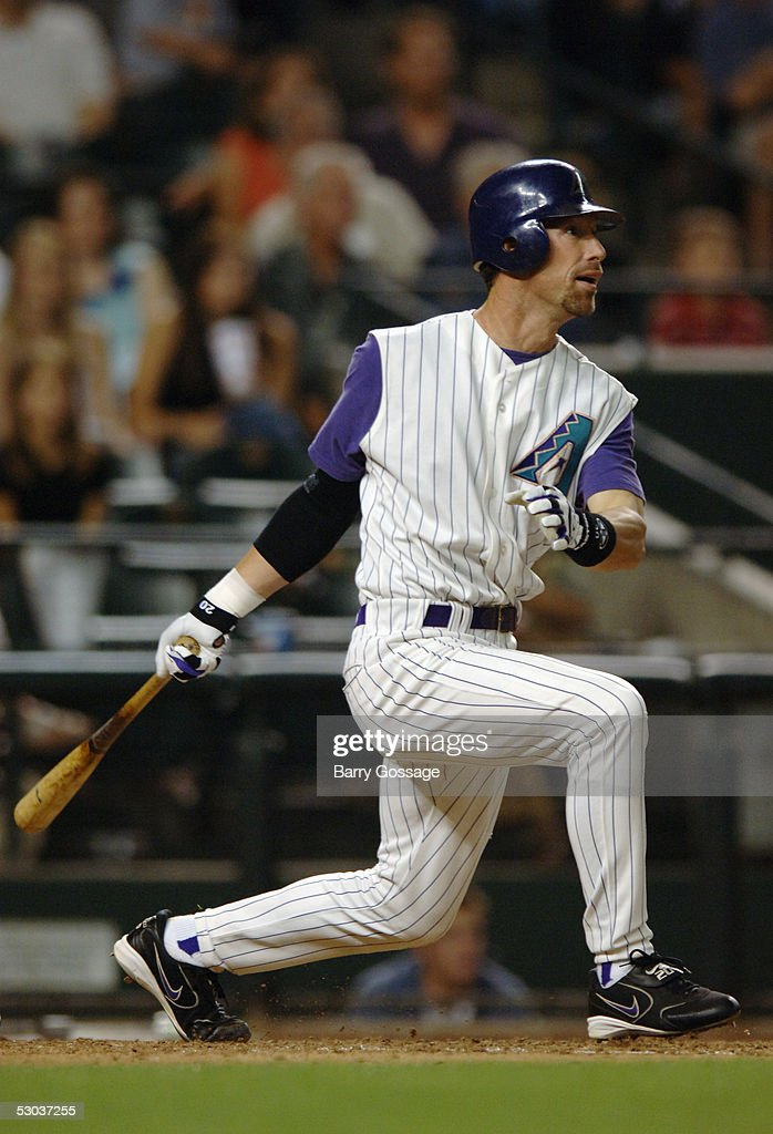 Luis Gonzalez of the Arizona Diamondbacks bats against the San Diego Padres during the game at Bank One Ballpark on April 23 2005 in Phoenix Arizona...