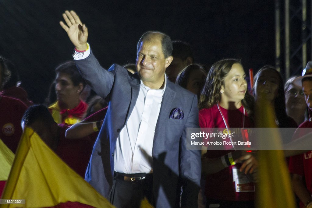 Luis Guillermo Solis delivers his victory speech as the newly elected President of Costa Rica during the second round of the Presidential Elections in Costa Rica at Liceo de Curridabat School on April 06, 2014 in San Jose, Costa Rica.