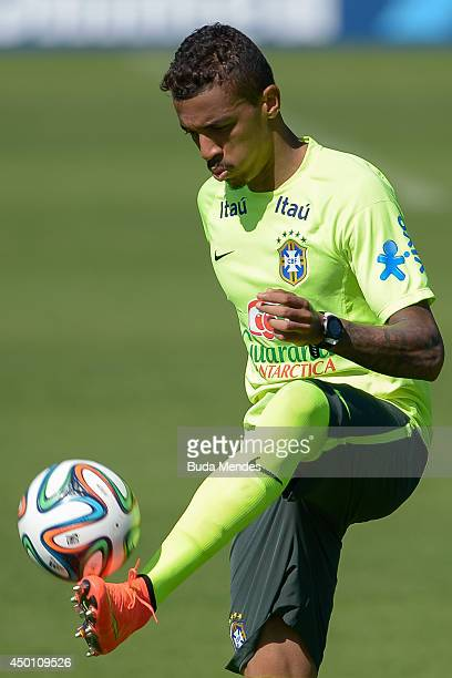 Luis Gustavo in action during a training session of the Brazilian national football team at the squad's Granja Comary training complex in Teresopolis...