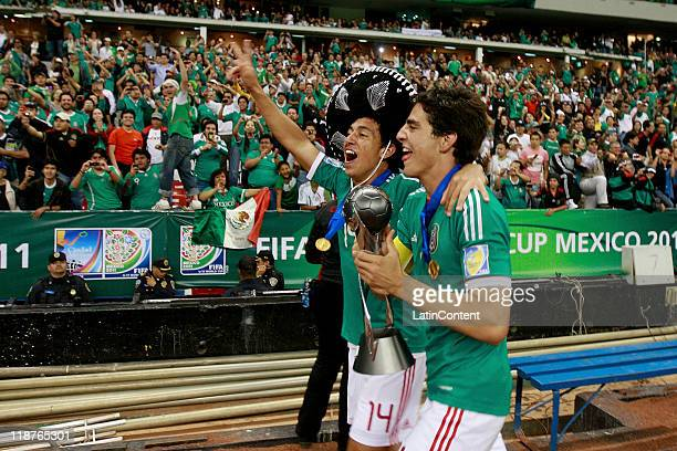 Luis Guzman and Antonio Briseno of Mexico celebrate winning the U17 World Cup during the FIFA U17 World Cup Mexico 2011 Final match between Uruguay...