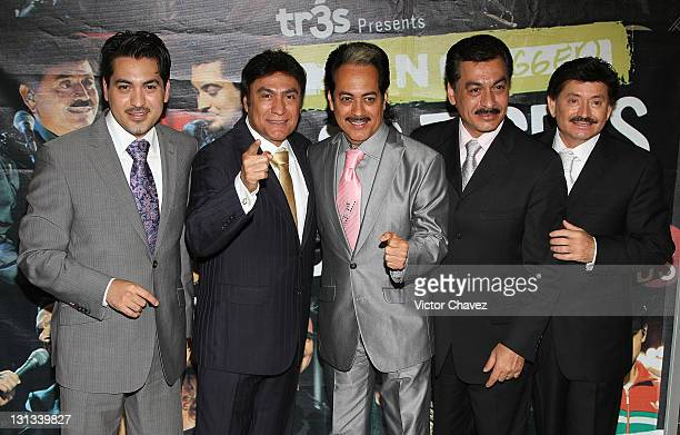 Luis Hernández Jorge Hernández Hernan Hernández Eduardo Hernández and Oscar Lara of Los Tigres Del Norte attends a photocall to promote their new...