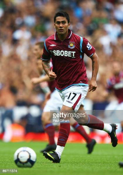 Luis Jimenez of West Ham United in action during the Bobby Moore Cup between West Ham United and Napoli at Upton Park on August 8 2009 in London...